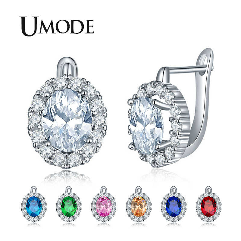 UMODE New Design Women Hoop Earrings Silver Color Indian Colorful Cubic Zirconia Engagement Earrings for Women Jewelry UE0583