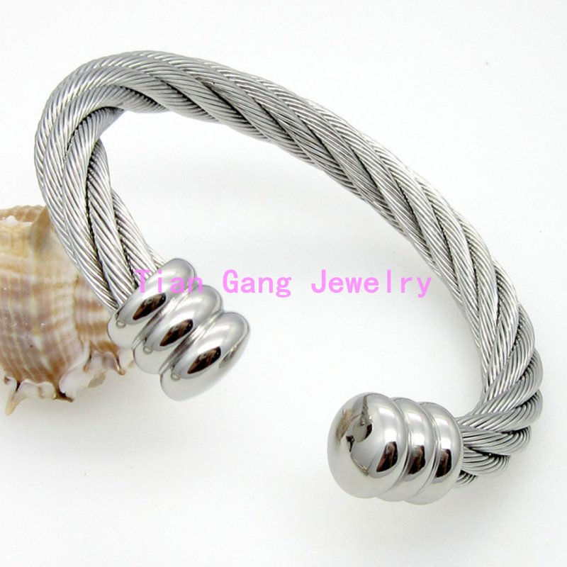 Fashion Twisted Cable Bracelet Stainless Steel Silver /Silver&Gold ...