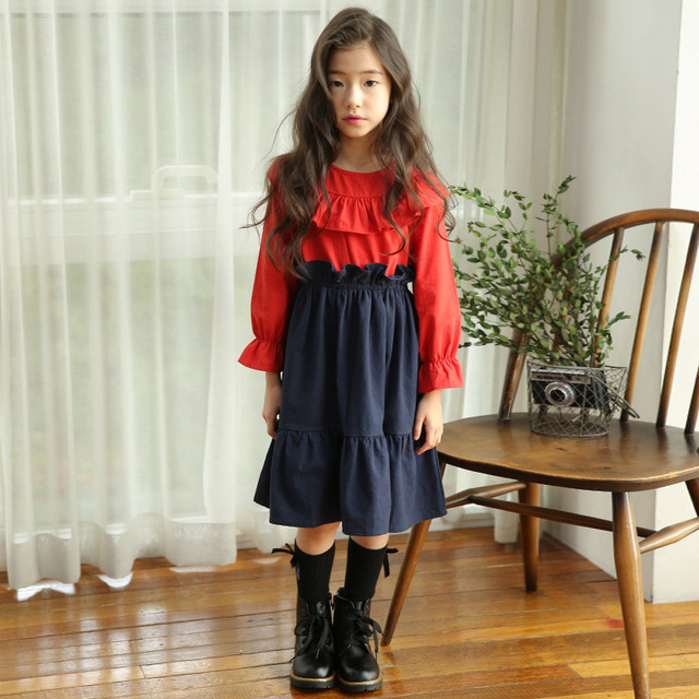 de334a10a0cf Mother And Daughter Clothes Princess Autumn Winter Spring 2019 Girls Dress  Long Sleeve Cotton Big Kids Party Dresses For Girls