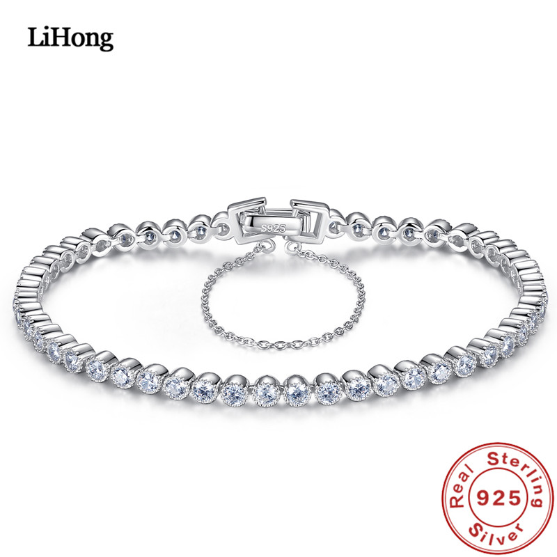 Genuine 100% 925 sterling silver bracelet round AAAAA zircon crystal silver chain for women wedding engagement
