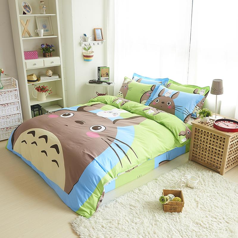 Cotton 4Pcs Cartoon Totoro Bed Linens Duvet Covet Sets Bedding Set