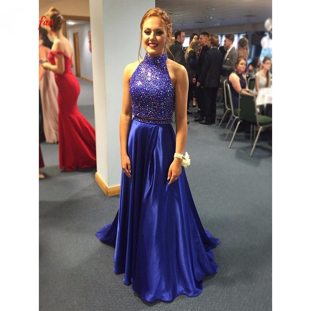 Royal Blue Beaded Bodice Tops Satin Floor Length Prom Gown High Neck Two Piece Set Evening Dresses For Wedding Party Custom Made