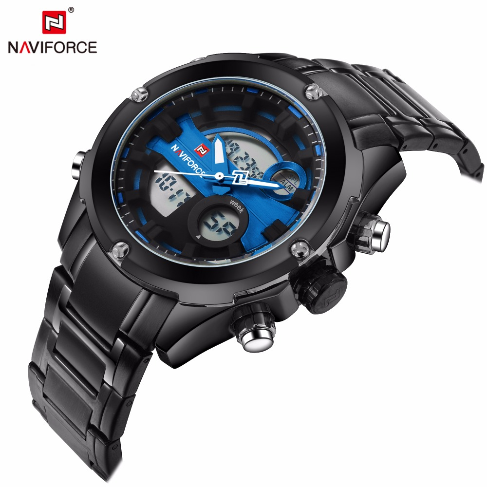 Naviforce Fashion Sports Men's wrist watch Clock male men waterproof LED digital quartz-watch relogio masculino Top Brand luxury new listing men watch luxury brand watches quartz clock fashion leather belts watch cheap sports wristwatch relogio male gift