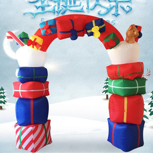 free shipping 24m huge inflatable christmas decorations inflatable santa claus arch led lighted garden yard - Huge Inflatable Christmas Decorations