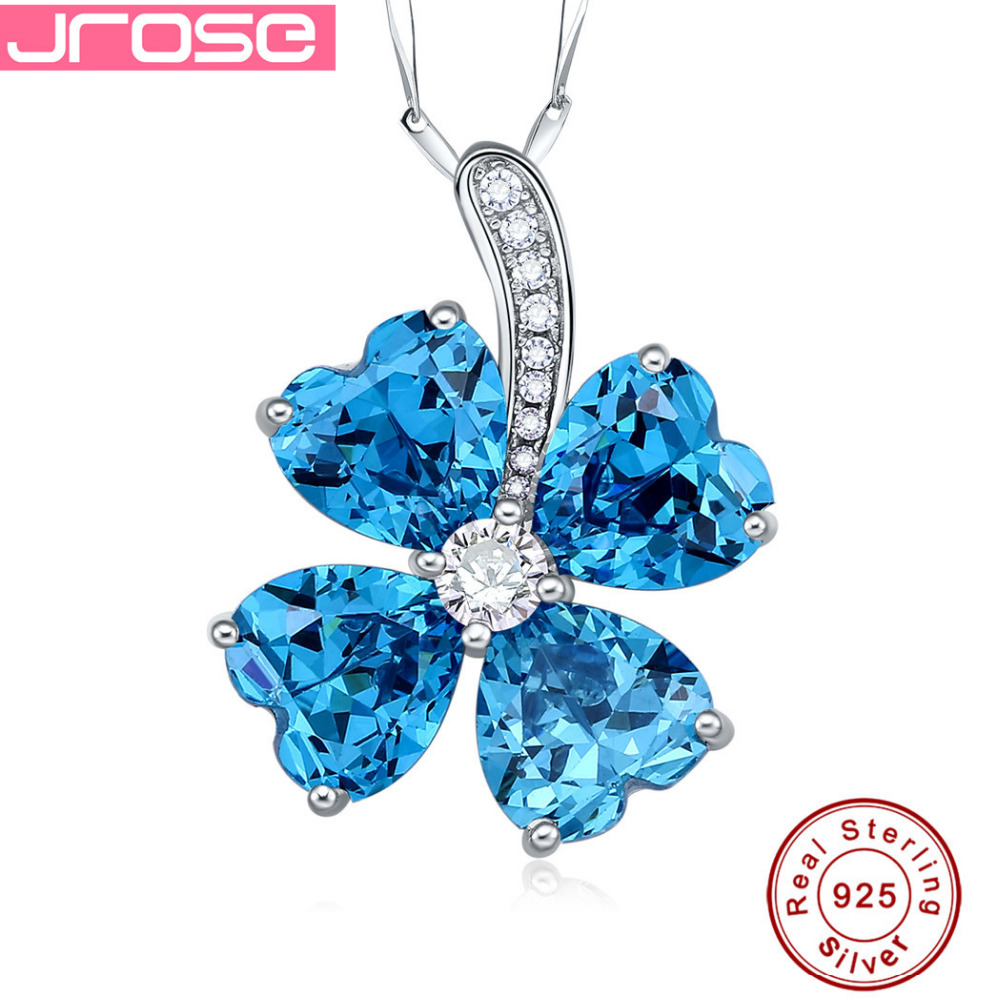 ②Jrose Lovely lucky 8.34ct Blue CZ Pendants Heart Cut Real Pure ...