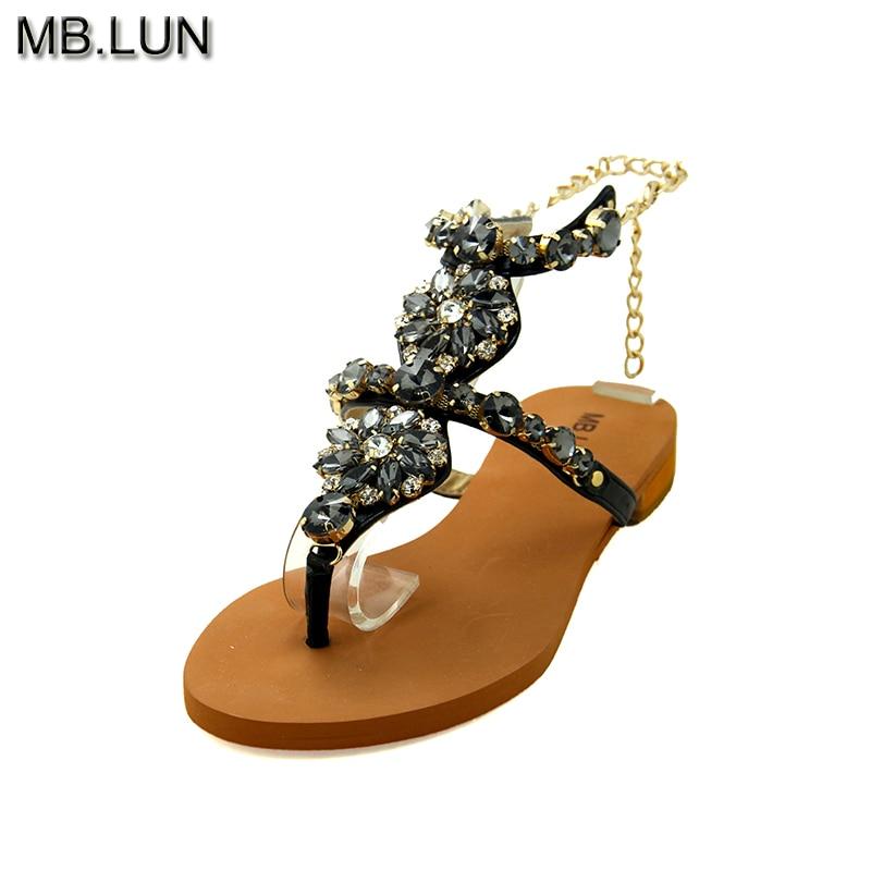 Genuine Leather Ladies&Women Sandals,Summer Shoes Woman Flat Flip Flops Rhinestone Sandals Women 2017 Italy Plus Size MB.LUN women sandals 2016 fashion new flat women sandals rhinestone ladies shoes
