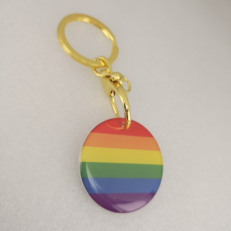 Elastic rope Keychain Rainbow LGBT Gay Intersex <font><b>Asexual</b></font> Pride Pendant Keychain Elastic rope Key <font><b>ring</b></font> image