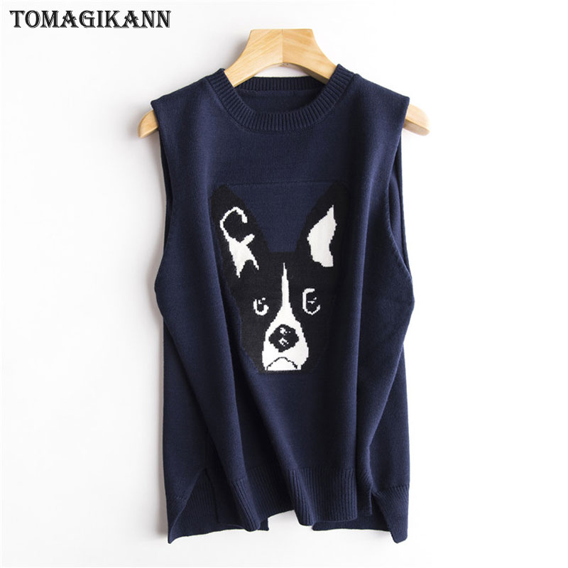 2018 Preppy Style Dog Pattern Women Pullovers Knitting Vests Spring Casual Split O Neck  ...