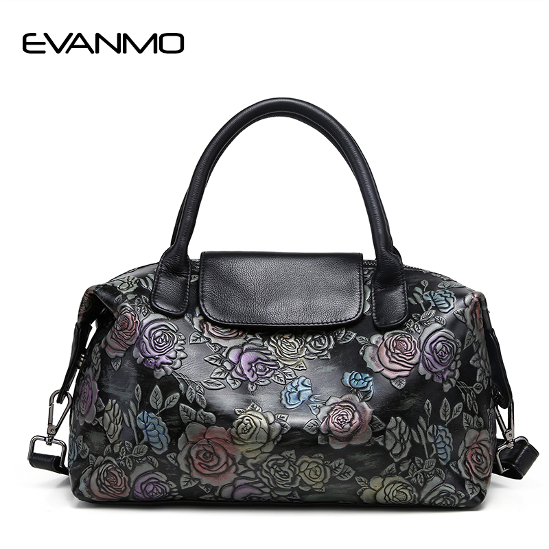 2018 Brand Genuine Leather Women Floral Print Handbag Ladies Cowhide Leather Tote Bag Fashion Design Special Women Shoulder Bag simple satin and floral print design slippers for women