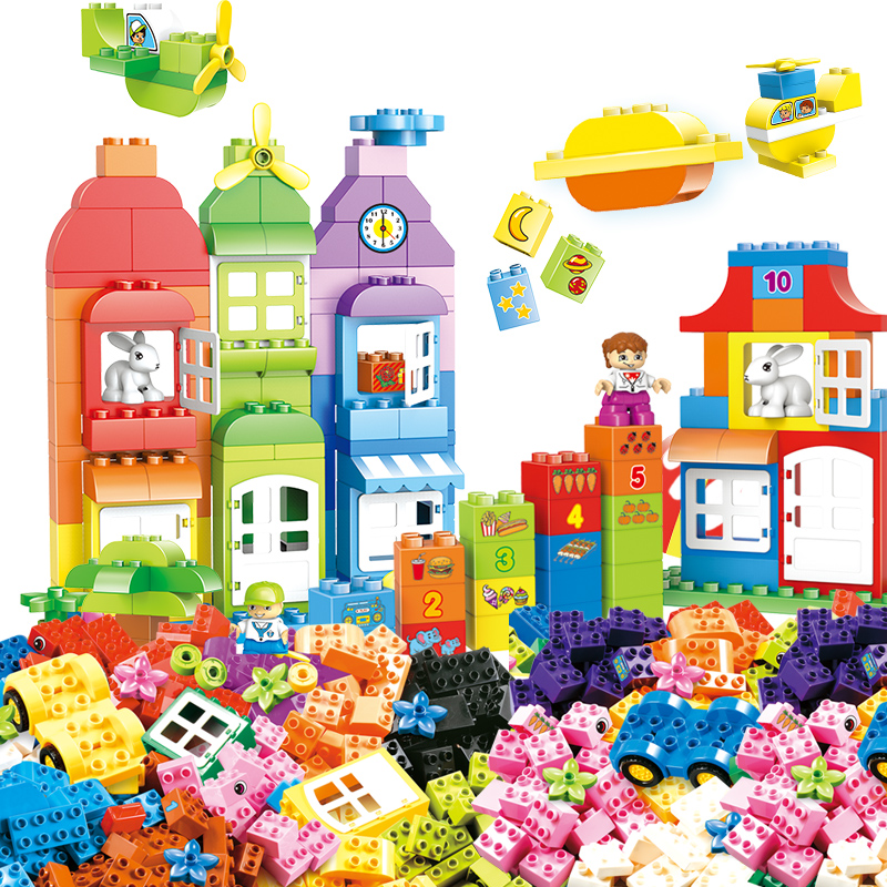 54-166pcs DIY Colorful City House Roof Big Particle Building Blocks Castle Educational Toy For Children Compatible цена