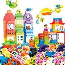 54-166pcs DIY Colorful City House Roof Big Particle Building Blocks Castle Educational Toy For Children Compatible цены