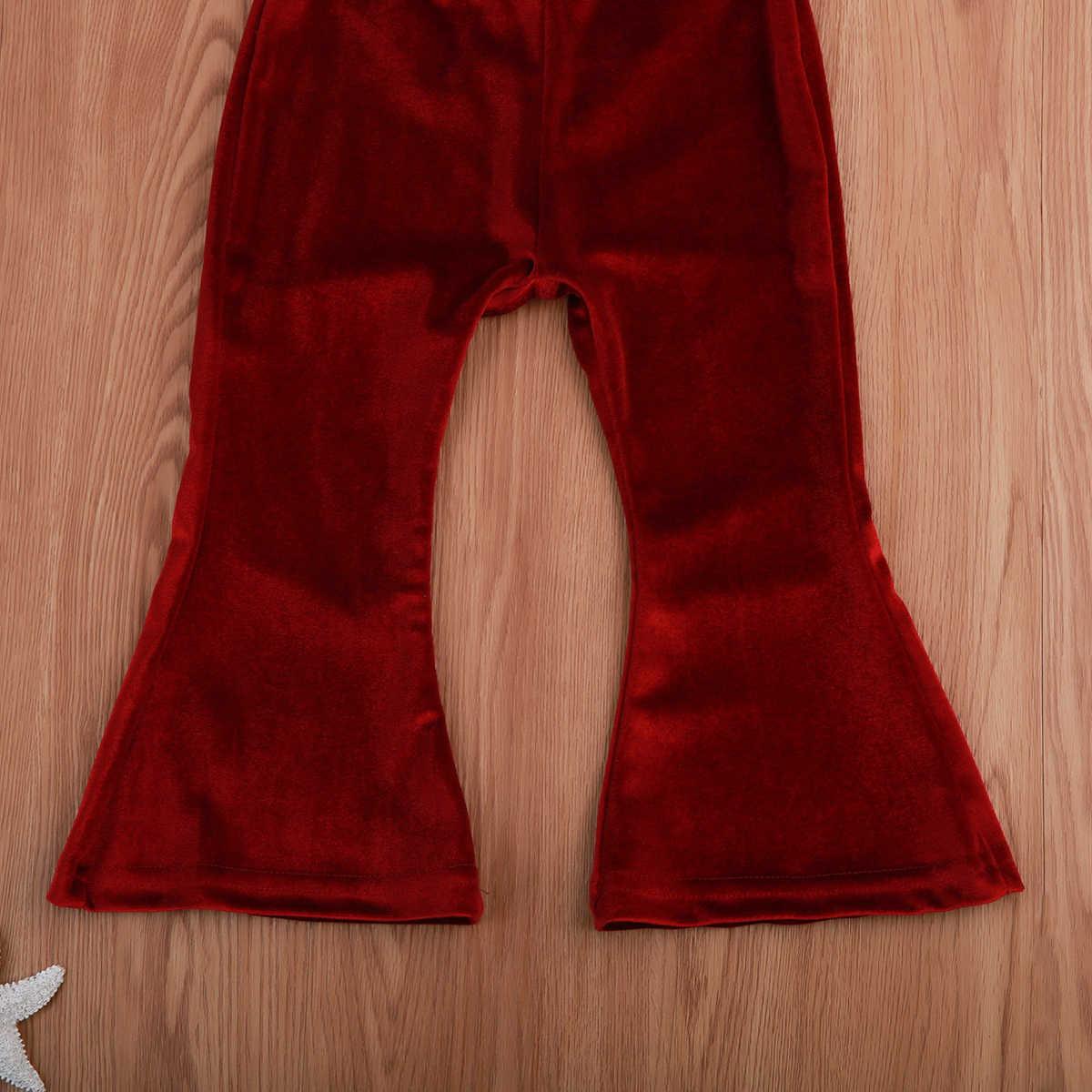 Lucu Balita Anak-anak Bayi Perempuan Bell Bottom Lebar Kaki Peregangan Beludru Celana Panjang Celana Flare Pants Outfit