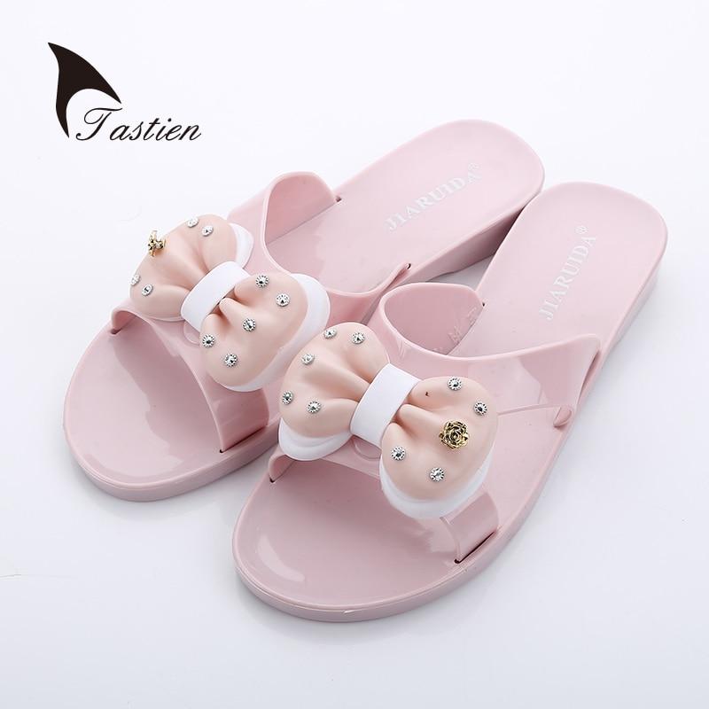 TASTIEN Women Sweet Slippers Open Toe Summer Beach Female Shoes Flat Slip On Ladies Slippers Flip