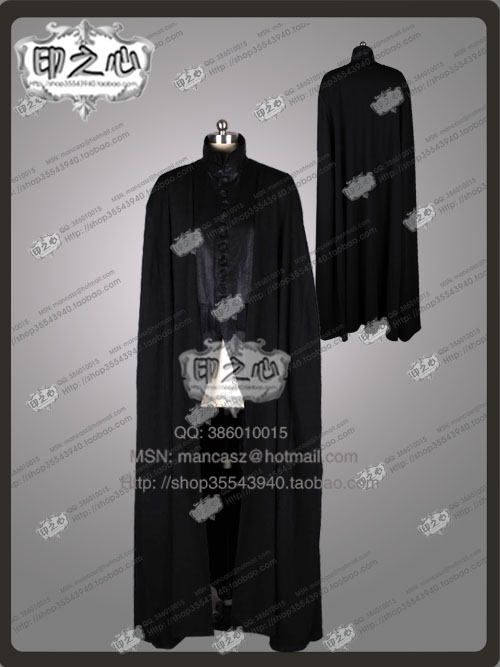 2016 Movie Deathly Hallows Severus Snape Cosplay Costume Black Robe Halloween Uniforms