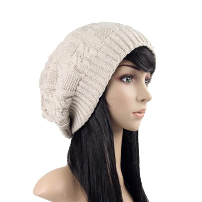 Hot 2017 Women's winter hat knitted wool beanies female fashion skullies casual soft caps thick warm hats for women Hot Dropship skullies beanies the new russian leather thick warm casual fashion female grass hat 93022