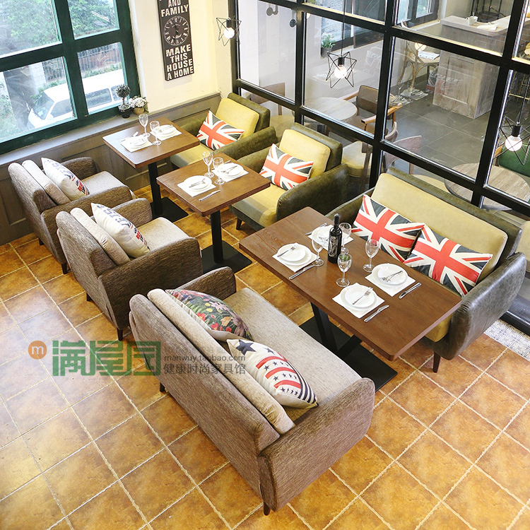 ... Retro Restaurant Cafe Sofa Spell Color Personalized Leather Sofas American  Casual Theme Restaurants Restaurants Furniture ...