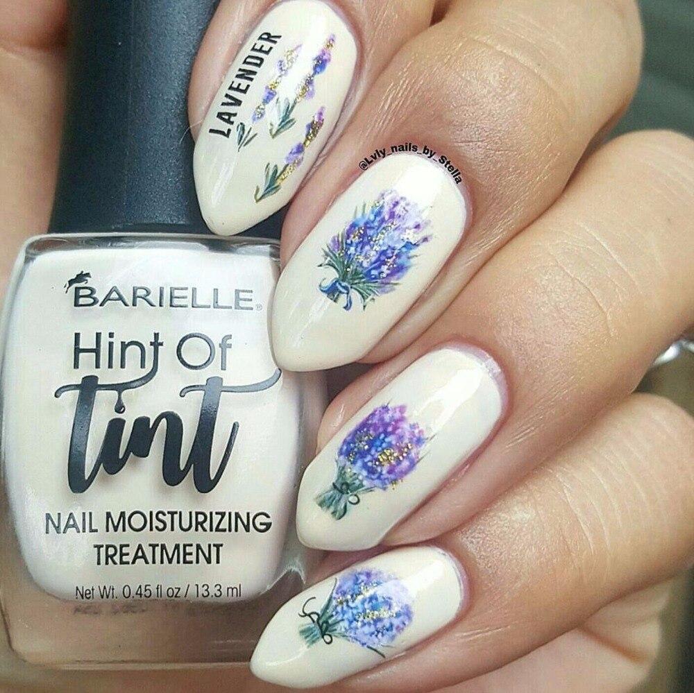 1 Pc Nail sticker Lavender Flower Water Decals Purple Blooming ...