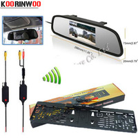 Koorinwoo Parking Assist System 4.3 Digital LCD Mirror Car Monitor Wireless Infrared Europe License Plate Frame Rear view Camera