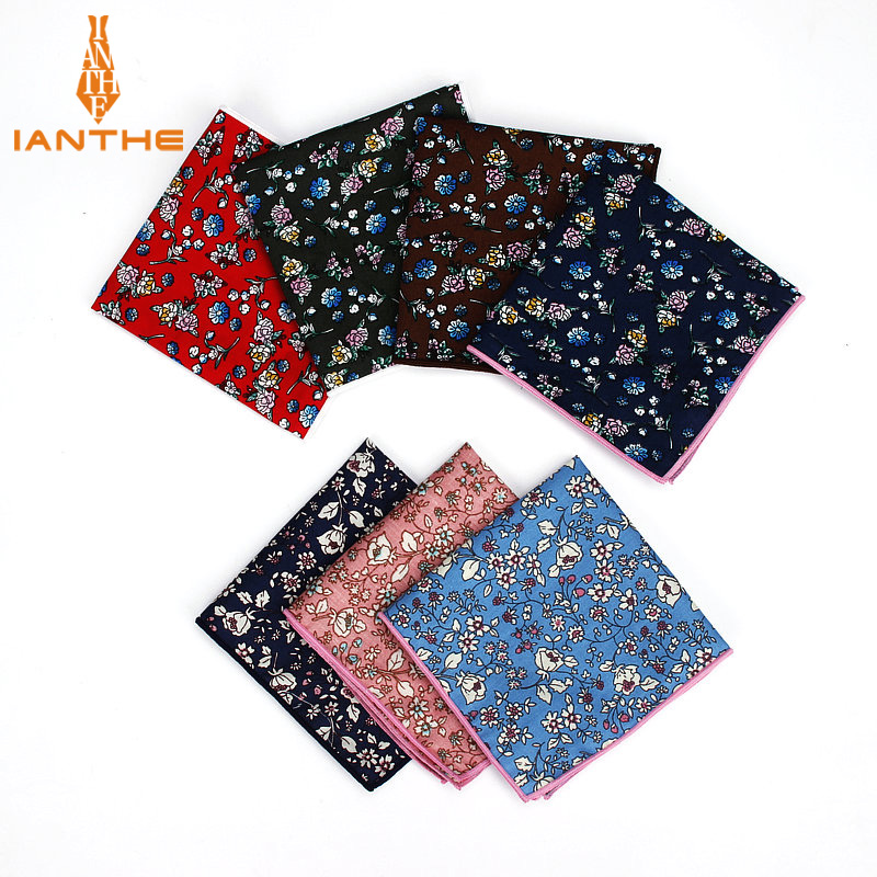 High Quality Men Suits Cotton Handkerchief Floral Flower Pocket Square Hankies Men's Wedding Fashion Square Pockets Hanky Towel