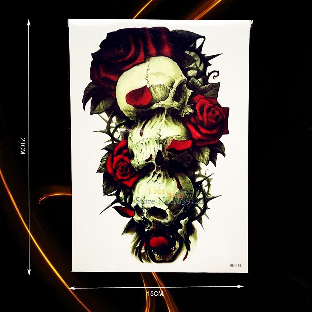 1PC Sexy Large Arm Tattoo Decals Death Skull Roses Design Temporary Tattoo Sleeve Sticker Waterproof Leg Tatoo Body Art HHB-418