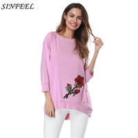2017 New Fashion T Shirt Women Embroidery Rose Solid T Shirt Women Tops Casual Brand Tee