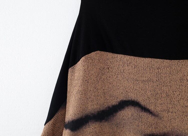 Rétro Slash Hiver Automne De Tricot Taille Originale Encre Plus Peinture La Mode Chaud Kaki Cou Nouveau Coton Lâche Conception Robe 8fxw8zF7q