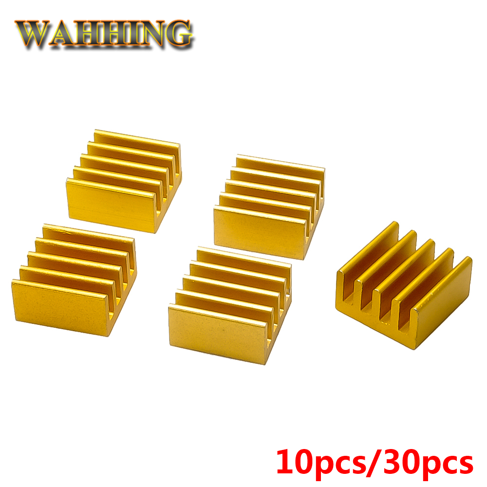 30x Golden Computer Cooler Radiator Aluminum Heatsink Heat sink for Electronic Chip Heat dissipation Cooling Pads 9*9*5mm HY1595 20pcs lot 22x22x10mm aluminum heatsink for chip cpu gpu vga ram ic led heat sink radiator cooler cooling