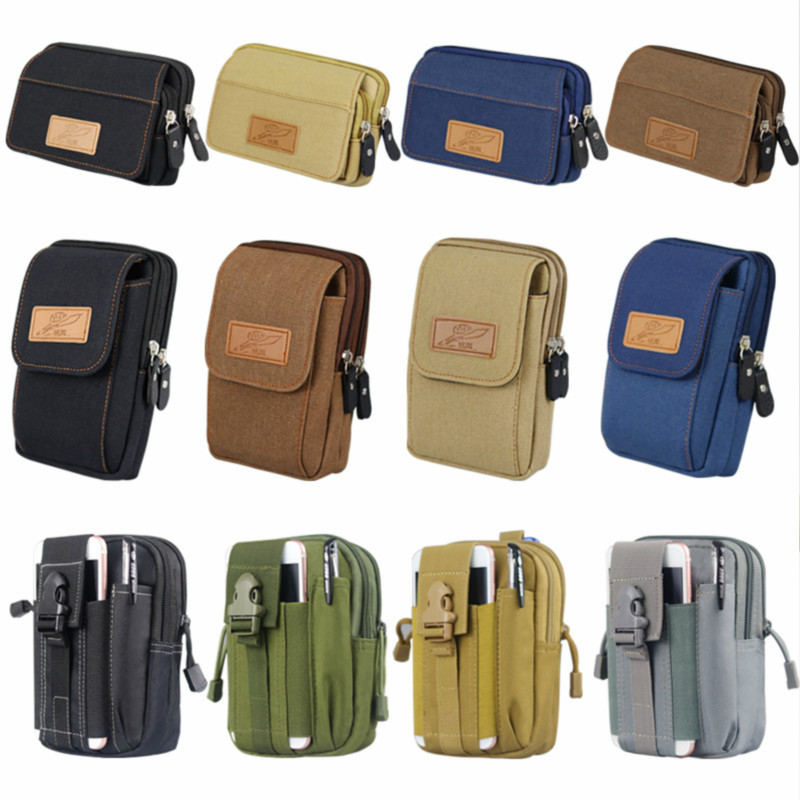 Outdoor multi-functional tactical pockets men wear belts, practical wear-resistant canvas mobile phone bags and coin purses