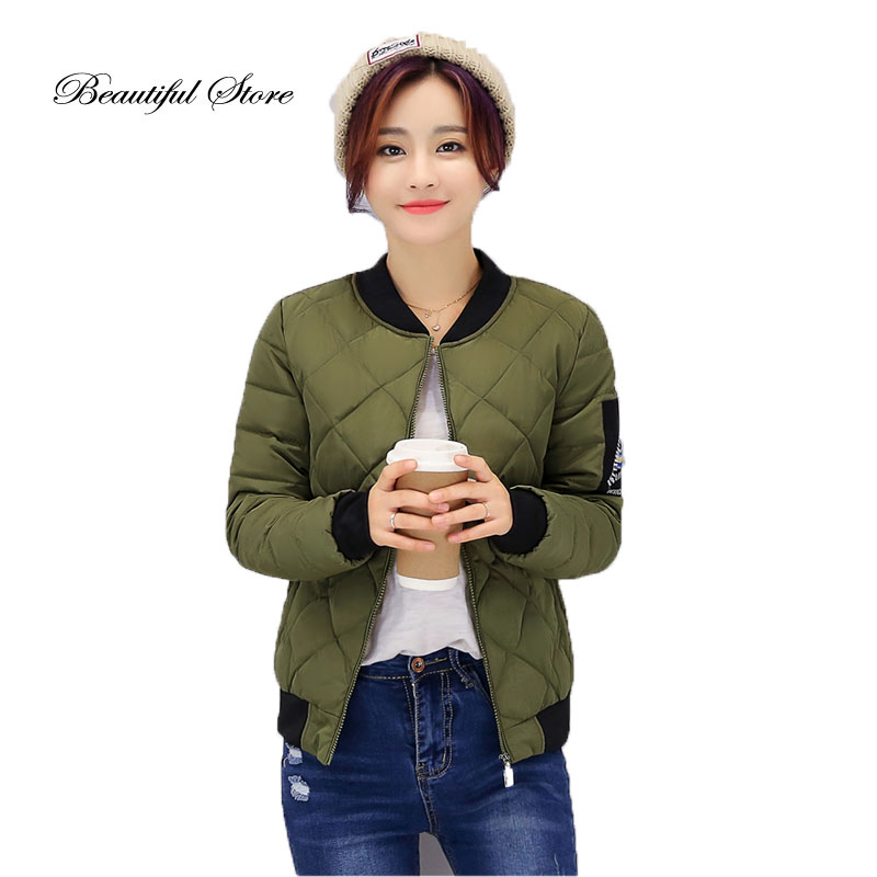 2016 Autumn winter short jacket casual women long sleeve diamond lattice slim parkas elegant ladies padded