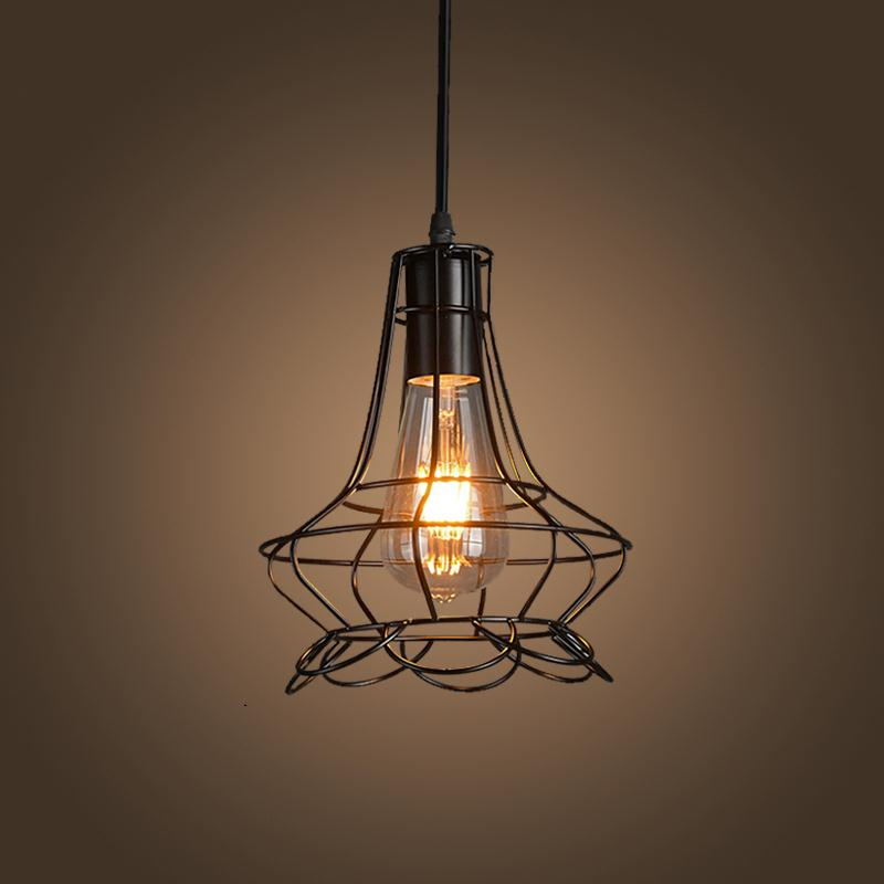 Hot Sale Retro Iron Pendant Light Loft Industrial Style Vintage Cages Hanging Lighting Bar Cafe Study Restaurant E27 Lamp Holder loft vintage industrial retro pendant lamp edison light e27 holder iron restaurant bar counter brief hanging lamp wpl098