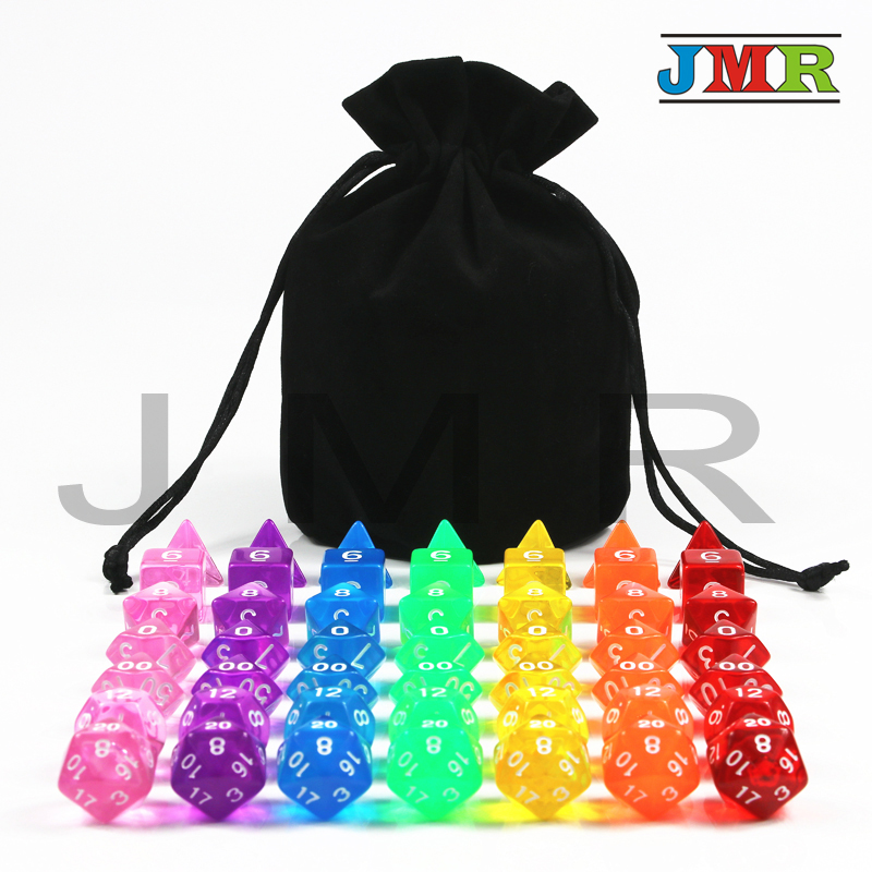 Whole Sale Price Translucent Colorful 7 sets Digital Polyhedral Dice,Set of D4 D6 D8 D10%D12 D20 for Dnd Rpg Board Game colorful 14mm 10pcs set acrylic transaprent d6 dice 6 sided gambling red blue green yellow purple dice for drinking board game