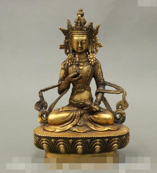 S4492 6 Tibet Collect Buddhist Bronze Gilt Vajrasattva Bodhisattva God Buddha StatueS4492 6 Tibet Collect Buddhist Bronze Gilt Vajrasattva Bodhisattva God Buddha Statue