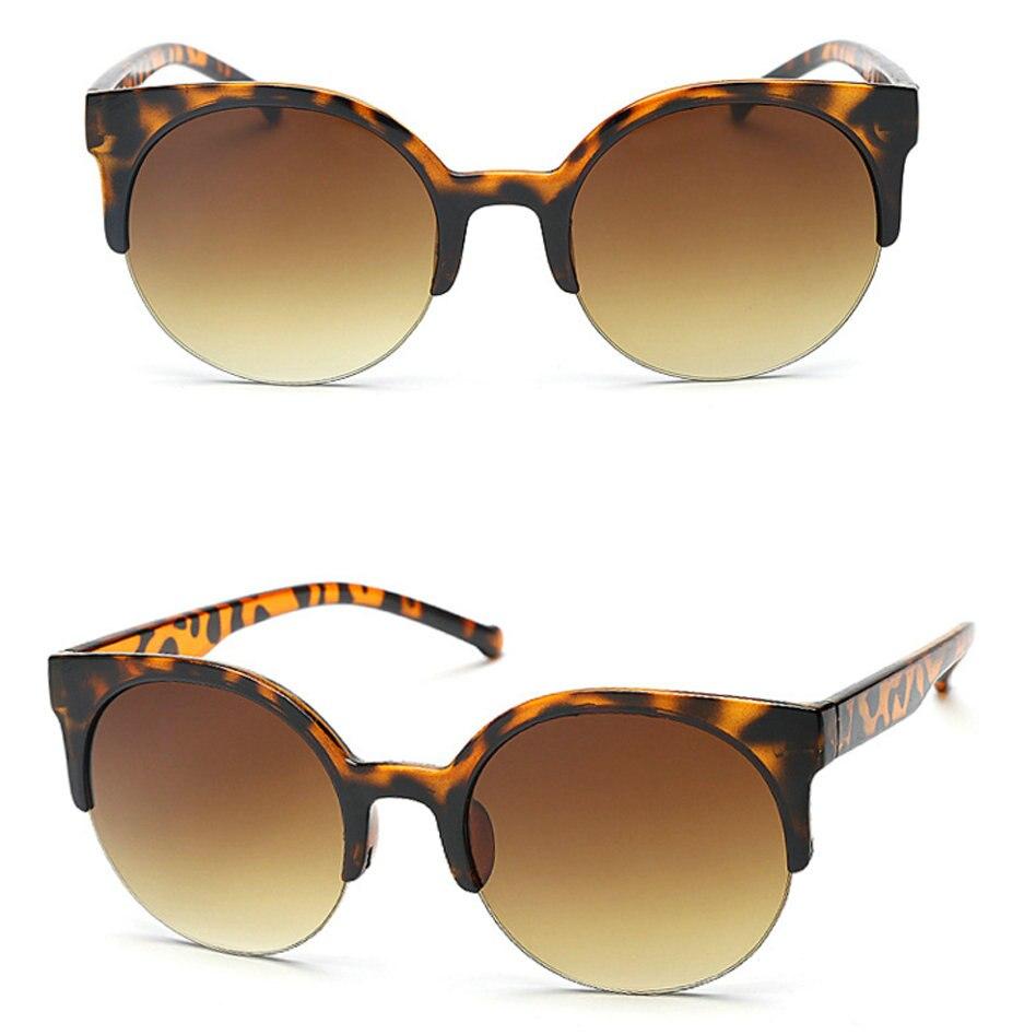 Hot Sales! AE01-17 Brand Vintage Women Sunglasses Men Black Leopard Round Frame Cat Eye Glasses Female Eyewear Mirror SunGlasses