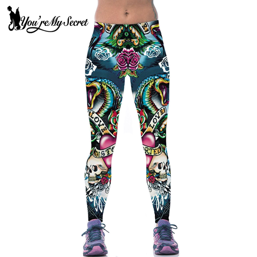 [You're My Secret]  Workout Leggings Skull Fantacy 3d Print Fitness Pant High Waist Push up Elastic Slim Leggings For Women