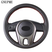 GNUPME – housse de volant de voiture en cuir artificiel souple, cousu à la main, noir, bricolage, pour Kia Forte Kia Soul Kia Rio 2009 – 2011