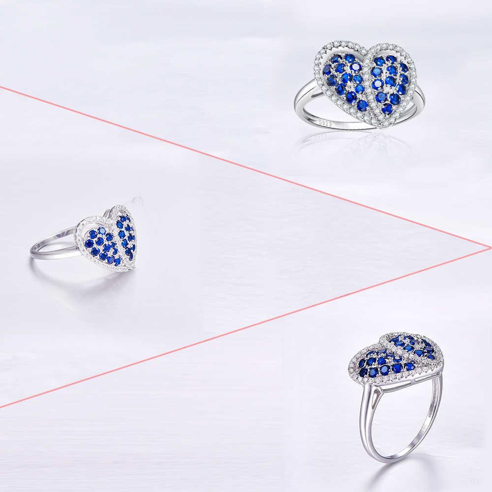 JCวิจิตรเครื่องประดับทับทิมและสีฟ้าและสีขาวT Opazแท้925แหวนเงินขนาด6 7 8 9หัวใจรักแหวนสำหรับผู้หญิงโรแมนติก
