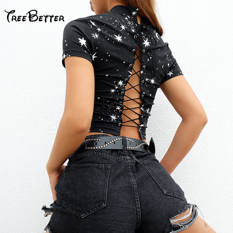 Stars Print Harajuku Back Lace Up O Neck Cropped Female T-shirt Summer Short Top Tee Bnadage Tshirt Chic Clothes 2019 New