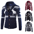 2015 New Hot Christmas Reindeer Men Sweaters Slim fit Fashion Long sleeve V-neck Knitted Casual Cardigans Mens Single Breasted