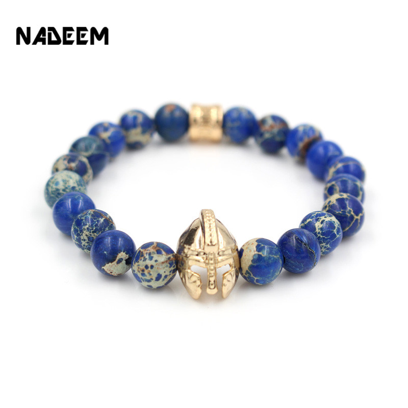 Wholesale Antique Gold Color Roman Knight Spartan Warrior Gladiator Helmet Bracelet Natural Regalite Stone Bead Bracelet ND4796