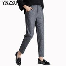 2019 Calças De Lã Das Mulheres Do Vintage Outono Inverno Cinza Preto Casual Calças de Cintura Alta Plus Size de Todos Os Jogos Calças Mujer AB038
