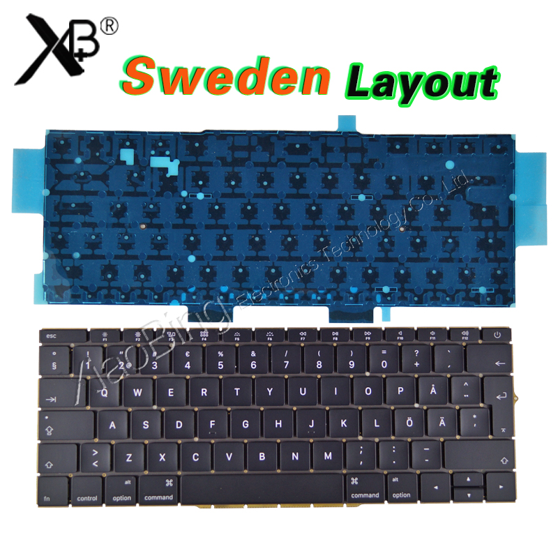 NEW A1708 Sweden Swedish SE Keyboard for Macbook Pro 13'' A1708 Keyboard Blacklight Backlit Sweden 2016 2017 Year image