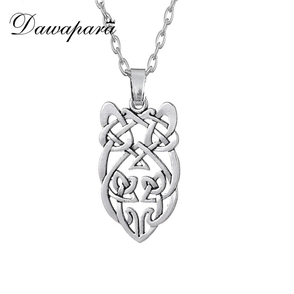Dawapara Goth irlandais noeud hibou collier femmes Animal Vintage pendentif bijoux