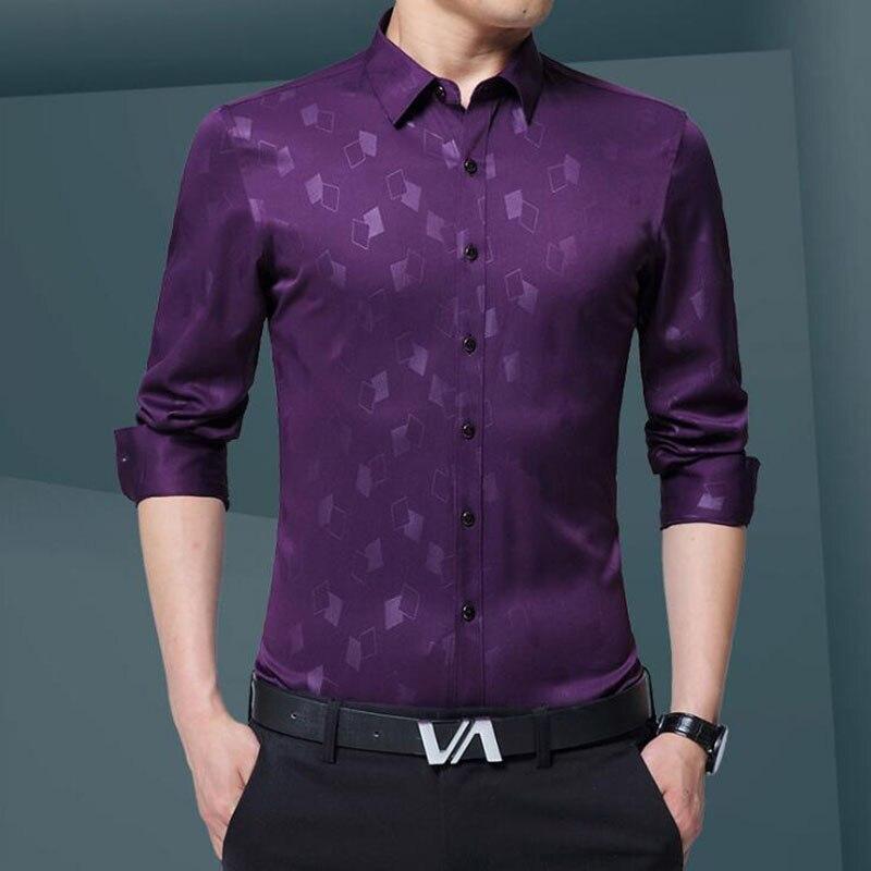 Lüks Artı Boyutu Erkek Gömlek 2017 Sonbahar Gelgit Flora Baskı - Erkek Giyim - Fotoğraf 4