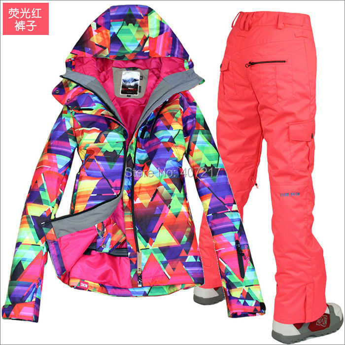 2016 hot womens waterproof ski suit ladies snowboarding suit skiwear - Sportswear and Accessories - Photo 3