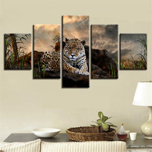 Frame Decor Poster Modulaire Foto 5 stuks Animal Leopard En Groen Gras Landschap Schilderen Moderne Wall Art HD Gedrukt Op canvas(China)