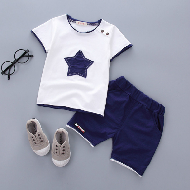 New Arrival 2018 Summer Fashion Boys Clothes Short Sleeve Pentagram Casual Toddler Boys Clothing Baby Children Suit 2-piece Set