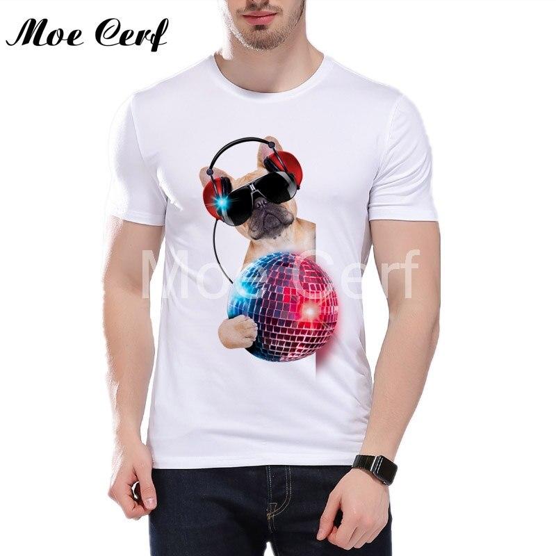 Горячее предложение 3D dJ Собаки Футболка с принтом Для мужчин; высокое качество Французский бульдог топы Свободные Повседневная рубашка заб...