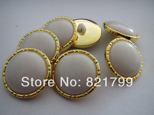 40L gold button with shank plastic fashion button 25mm overcoat shirt button 200pcs