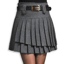 Новая осенняя и зимняя женская шерстяная двухслойная плиссированная юбка, короткая юбка, тонкая универсальная юбка