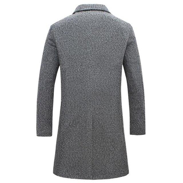 Automne hiver nouvelle marque de mode hommes vêtements tendance veste laine manteau hommes coupe mince caban laine & mélanges hiver longs hommes manteau 3XL